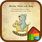 Baby with wooden horse dodol icon