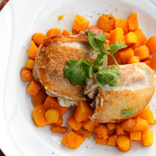 Pan-Seared Chicken Thighs With Butternut Squash and Carrots
