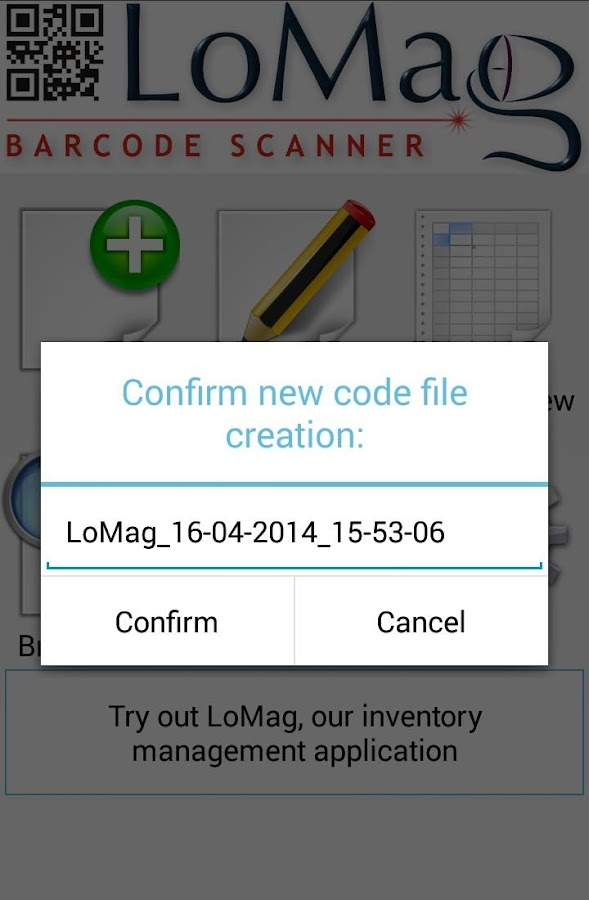 LoMag Barcode Scanner to Excel- screenshot