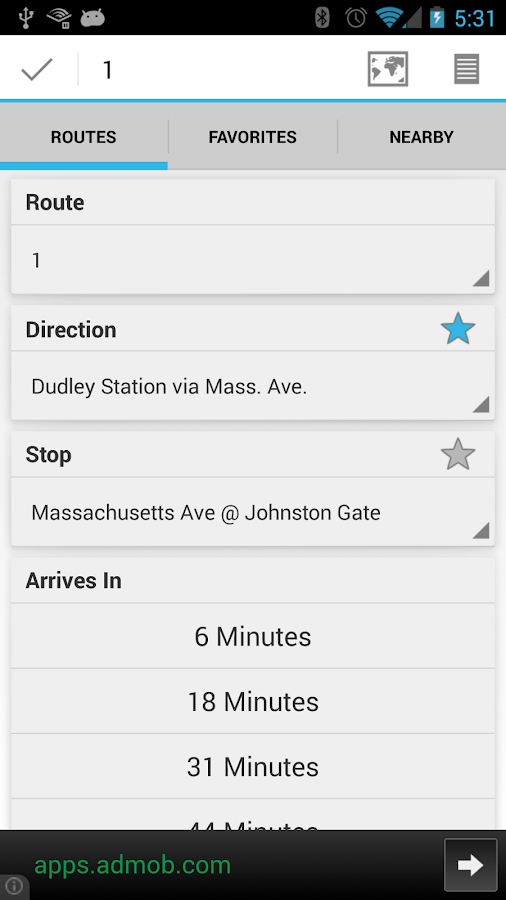 YourBus MBTA - screenshot