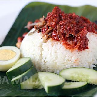Nasi Lemak Recipe (Malaysian Coconut Milk Rice with Anchovies Sambal).