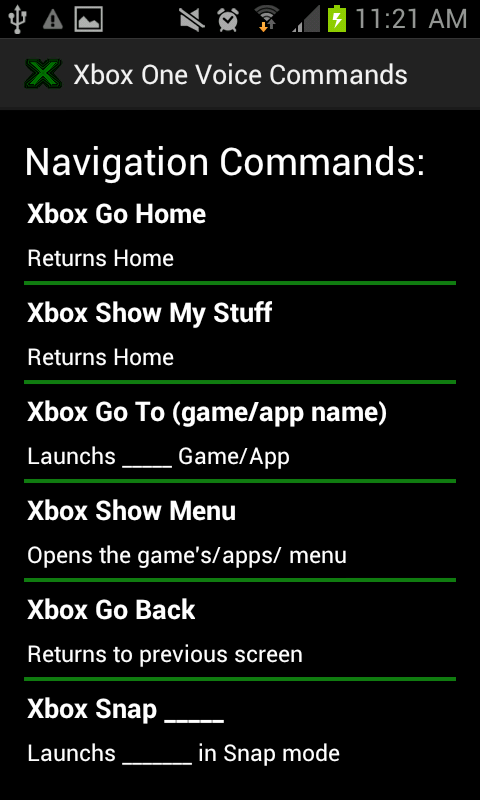 Xbox One Voice Commands - screenshot