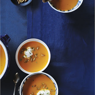 Roasted Squash Soup with Almond Cream and Spiced Pumpkin Seeds