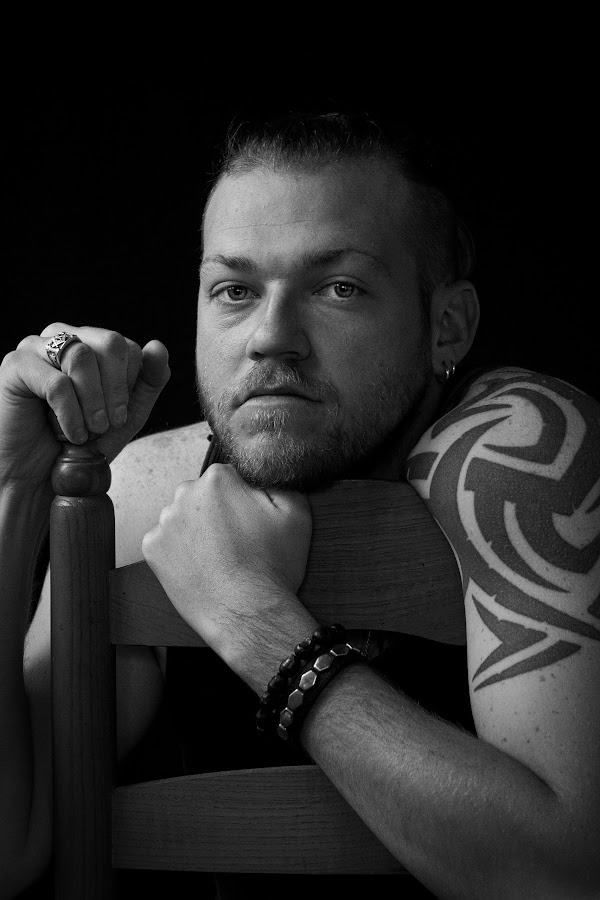 Tough Guy by Bonnie Marquette - People Portraits of Men ( contrast, male, white, adult, tattoo, low, key, man, black,  )