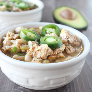 Slow Cooked White Chicken Chili.