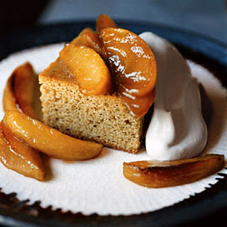 Brown-Sugar Spice Cake with Cream and Caramelized Apples