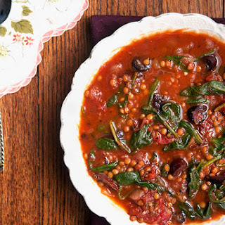 Smoky Tomato Lentil Soup With Spinach & Olives.