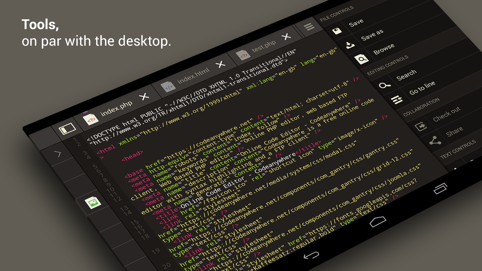 Codeanywhere- screenshot
