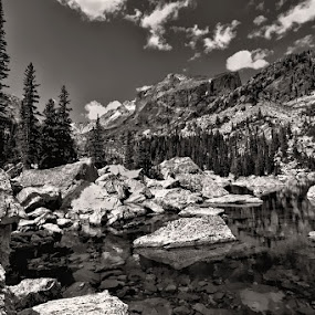 by Todd Yoder - Black & White Landscapes ( clouds, mountains, b&w, sky, trees, pond )