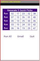 Screenshot of California Lotto Generator