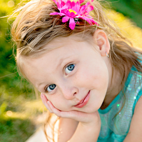 Blue Eyed by Amber Welch - Babies & Children Child Portraits ( plantive, daughter, children, kids, kid, child, girl, blue, thinking, happy, blue eyes, to color, smile )