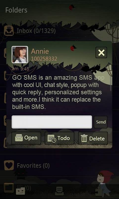 GO SMS Pro Night Forest theme - screenshot