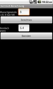 Kernloch Berechnung - screenshot thumbnail