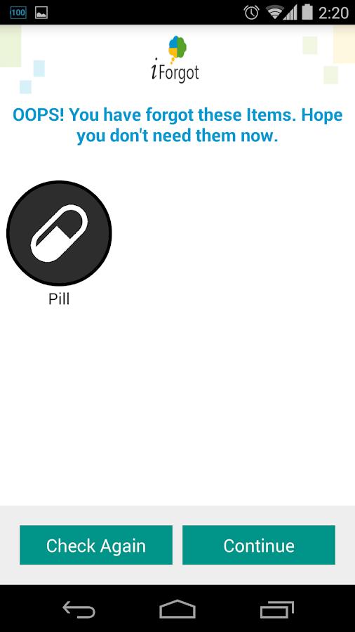 iForgot Things Reminder - screenshot