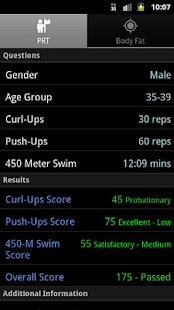 US Navy PRT Calculator- screenshot thumbnail