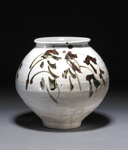 White porcelain storage jar in underglaze iron