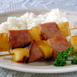 Ham and Pineapple Kabobs.