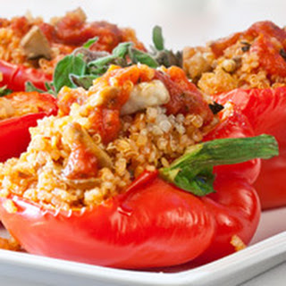 Quinoa and Mushroom-Stuffed Roasted Red Peppers.