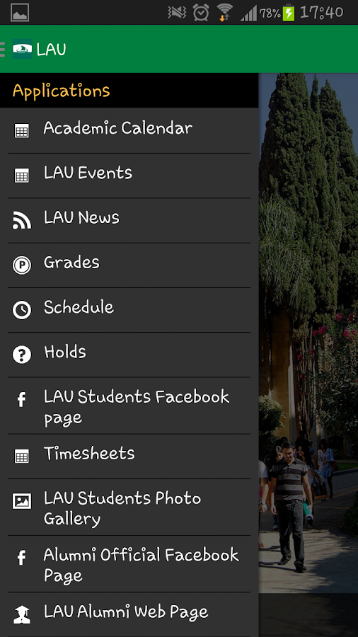 LAU Mobile Application- screenshot