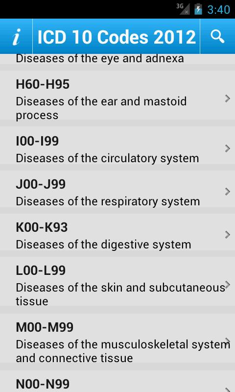 ICD 10 Codes 2012 Free- screenshot