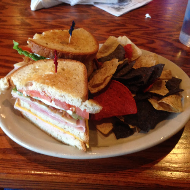 Three layer club with gluten free tri colored corn chips.  Udi bread.  Tasty and quick.