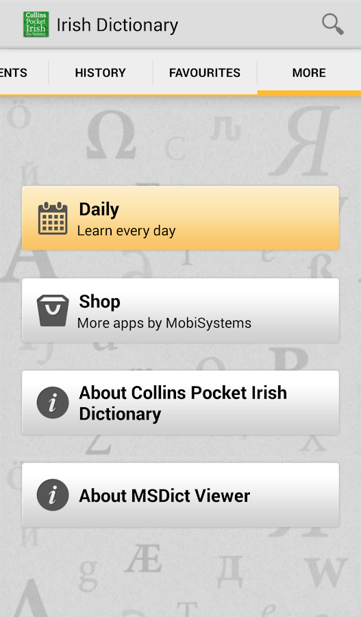 Collins Irish DictionaryTR - screenshot