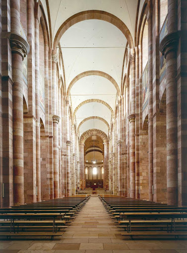The beautiful interior of Speyer Cathedral, Germany.
