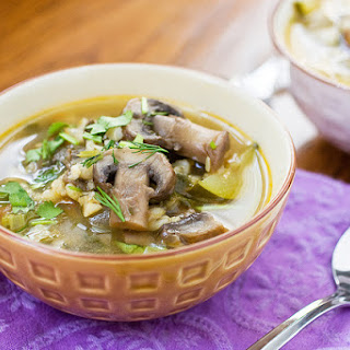 Mushroom Barley Soup With Fresh Herbs.