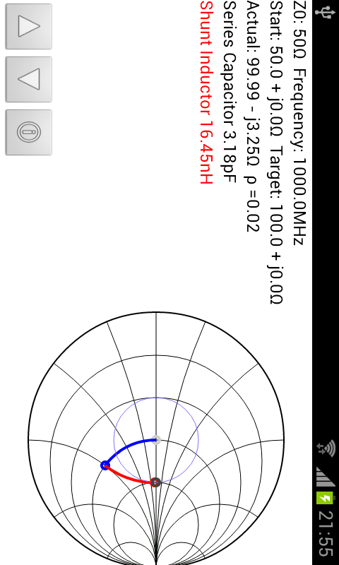 Smith Chart Matching Calc - screenshot
