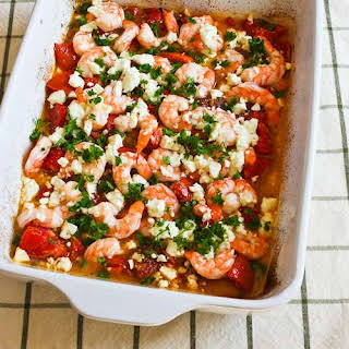 Easy Roasted Tomatoes and Shrimp with Feta, Oregano, and Fennel.