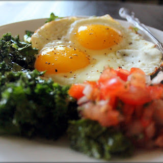 Garlicky Kale with Fried Eggs and Salsa