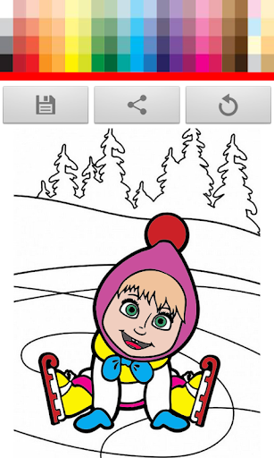 Girl and Bear coloring Book