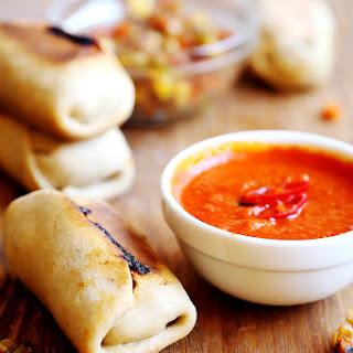 Homemade Baked Vegetable Wraps and Sriracha Sauce