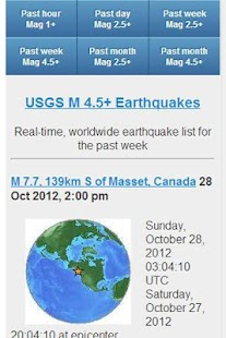USGS Earthquake Data- screenshot thumbnail
