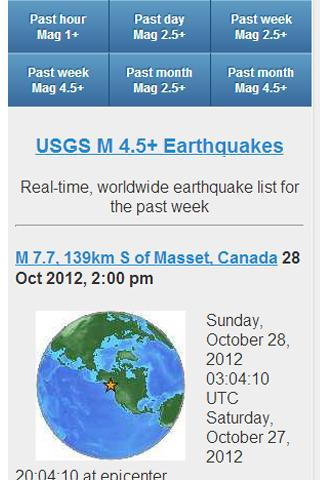 USGS Earthquake Data- screenshot