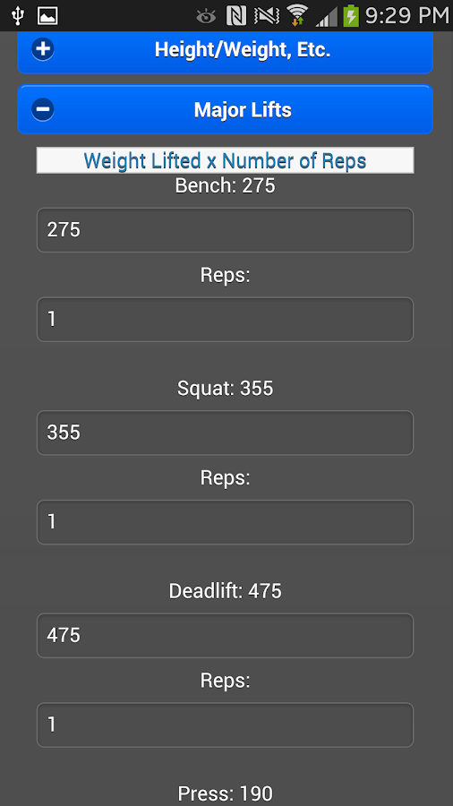 StrengthCalc Natty Edition - screenshot