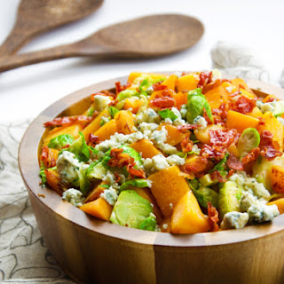 Sautéed Brussels Sprouts & Butternut Squash Skillet with Prosciutto and Blue Cheese.