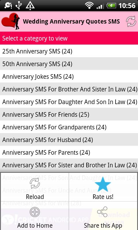 Wedding Anniversary Quotes SMS - screenshot