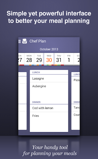 Chef Plan meals grocery list