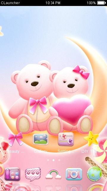 Cute bear love honey with pink hearts diy theme android apps on cute bear love honey with pink hearts diy theme screenshot voltagebd Image collections