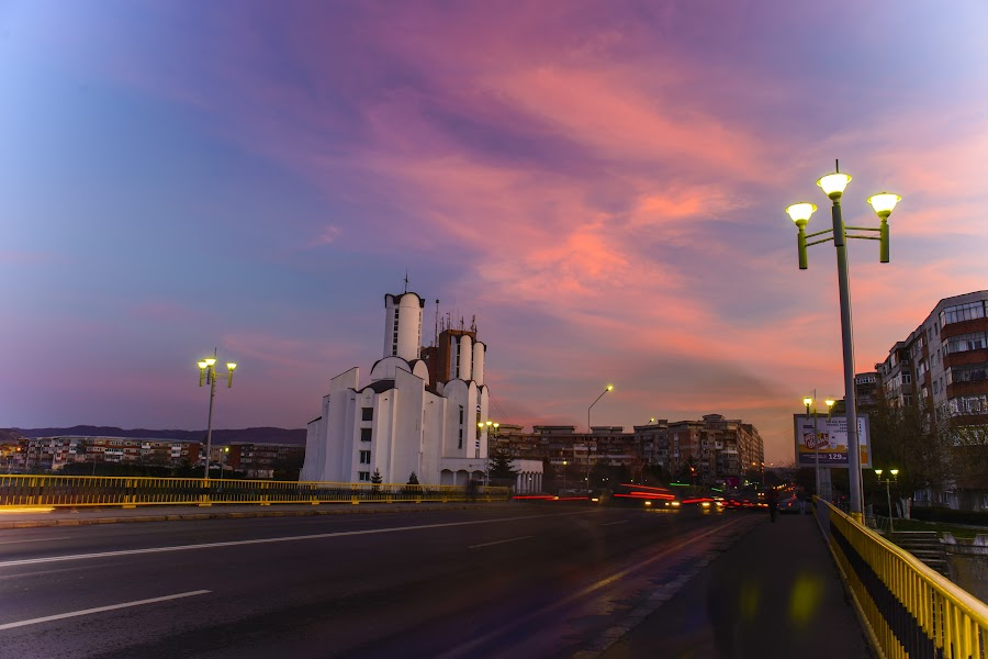 Spring Sunset by Andreea Alexe - City,  Street & Park  Night ( #bridge #church #cityscape #clouds #color #exposure #light #lights #long #nightscape #outdoor #purple #spring #street #sunset #traffic #trails,  )