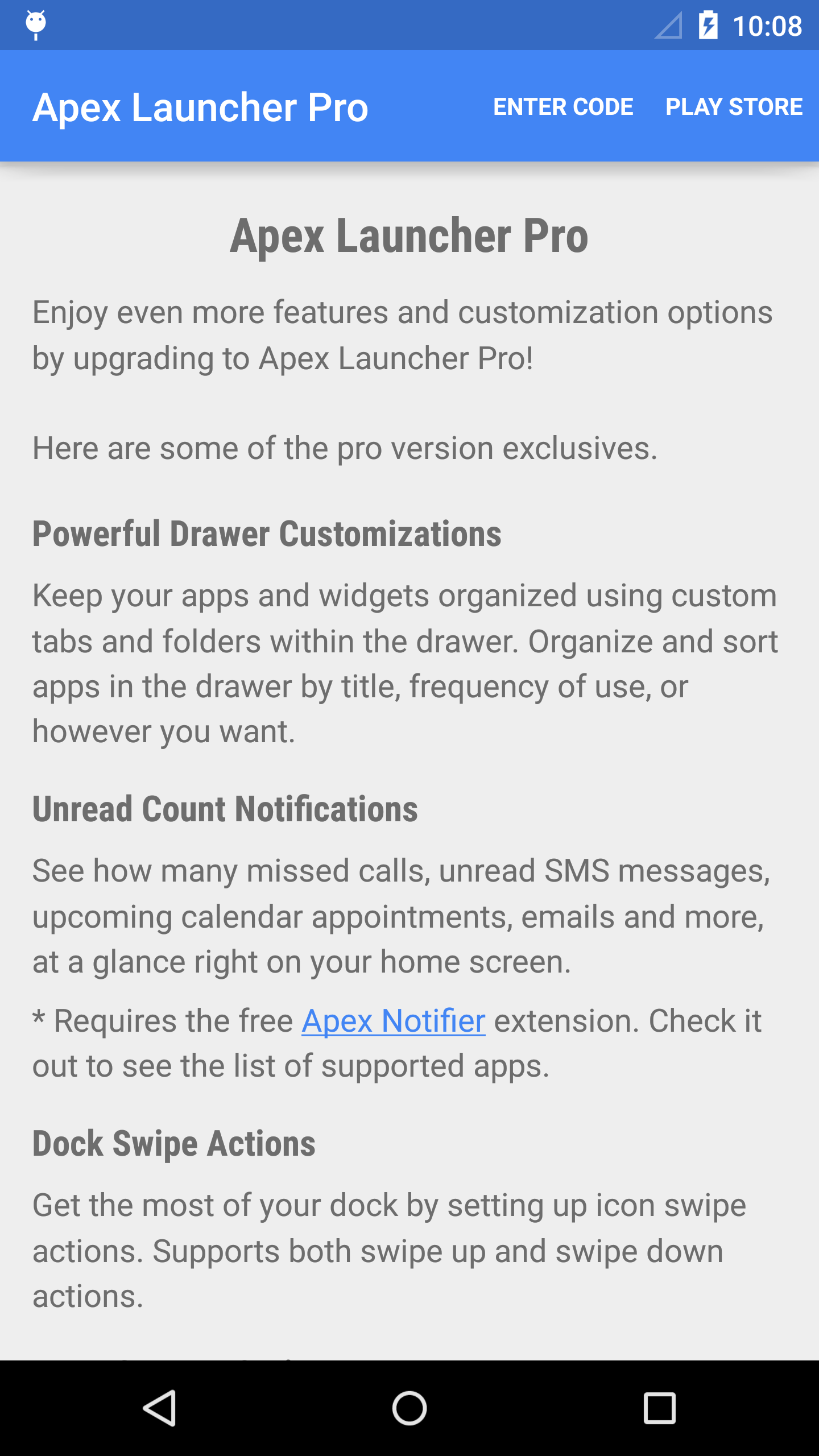 Apex Launcher (Android) reviews at Android Quality Index