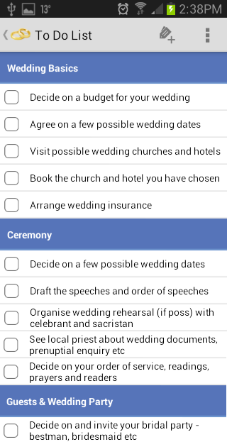 Irish Wedding Planner- screenshot