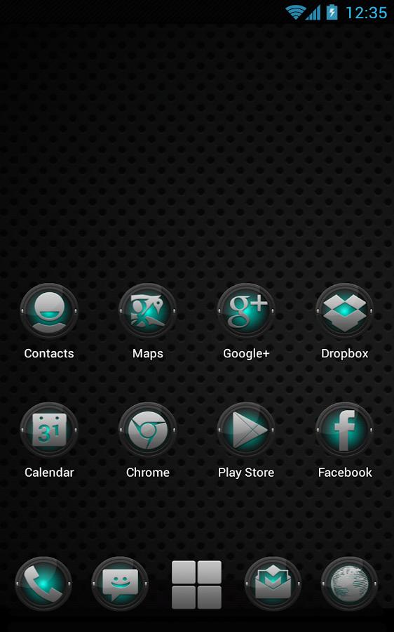 Next Launcher Black and Cyan- screenshot