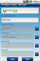 Screenshot of Procedure Tracker