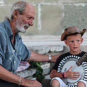 Old man and a boy by Camelia Cami - People Street & Candids ( child, street, old man, people, boy )