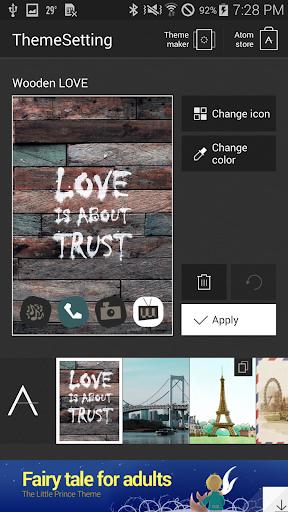 玩個人化App|Wooden LOVE アトム テーマ免費|APP試玩