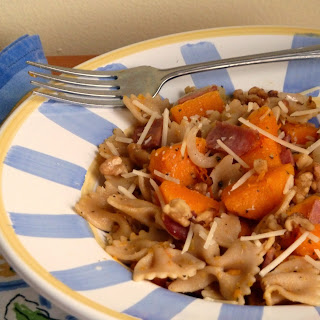 Whole Wheat Pasta with Roasted Butternut Squash, Turkey Bacon, and Walnuts.