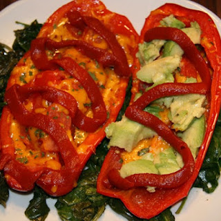 Vegan Avocado & Cheese Pepper Boats.