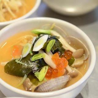Miso Clam Soup with Yuba on Silken Tofu.
